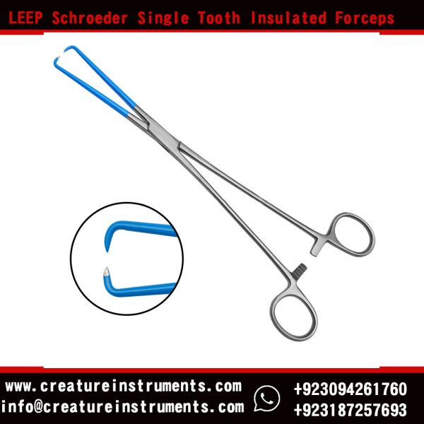 LEEP Schroeder Single Tooth Insulated Forceps 25cm